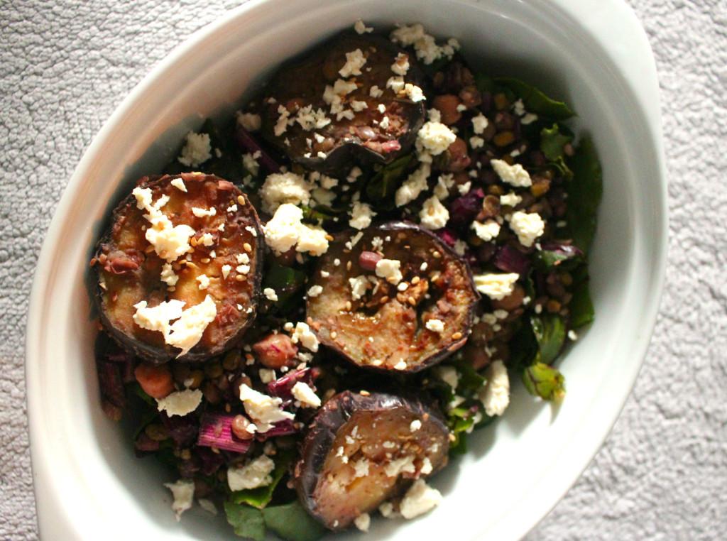 Miso Eggplant Grain salad