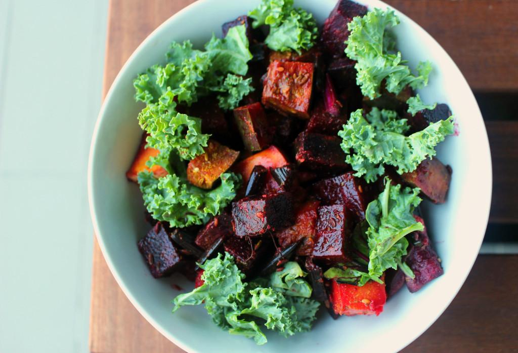 beet pumpkin kale salad