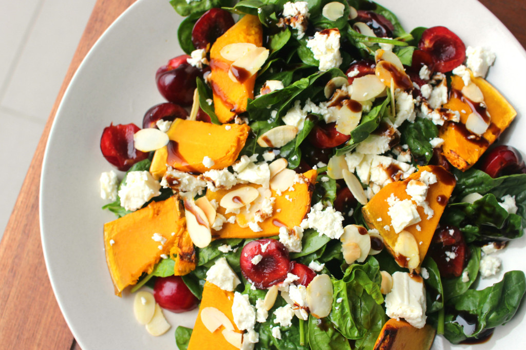 cherry pumpkin almond salad